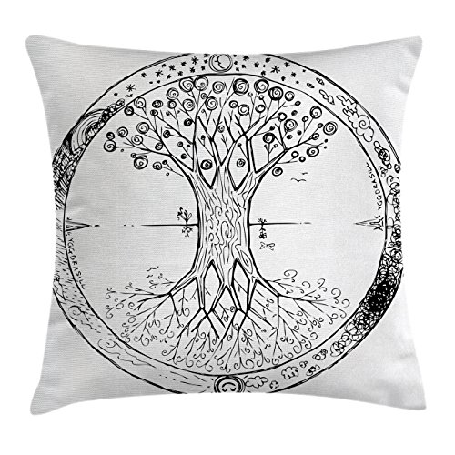 Ambesonne Tree of Life Throw Pillow Cushion Cover, Retro Celtic Tree Image Mandala Round Cycle of Life Spiritual Universe Theme, Decorative Square Accent Pillow Case, 18 X 18 Inches, Black White