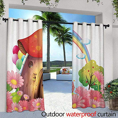 Tim1Beve Outdoor Window Curtains Mushroom Little Shroom House in Garden of Flowers Rainbow Fruit Trees Circus Tent Balloons Waterproof Patio Door Panel 84