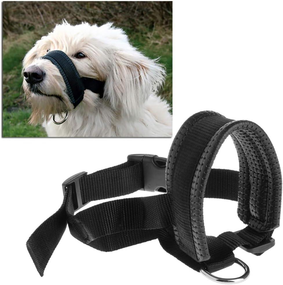 cuitan Bozal Perros,para Perros pequeños, medianos y Grandes, Ajustable, Transpirable, Suave, de Nailon,fácil de Usar-Negro.(XL)