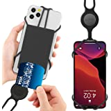 """Bone Cell Phone Lanyard with Card Holder, Universal Neck Phone Strap for iPhone 11 Pro Max, Galaxy S Pixel, Smartphone Detachable Case Silicone Straps, fits 4"""" to 6.5"""" Phone Tie (2nd Gen) - Black"""