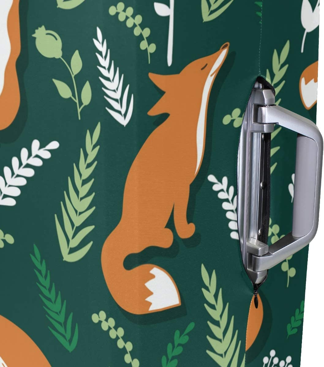 Travel Luggage Cover Cute Orange Foxes Wicker Green Suitcase Protector