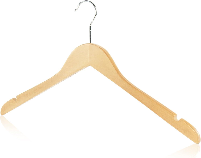 Hangerworld 5 Perchas 45cm Madera Lacada con Muescas en los Hombros Camisas Tirantes Vestidos