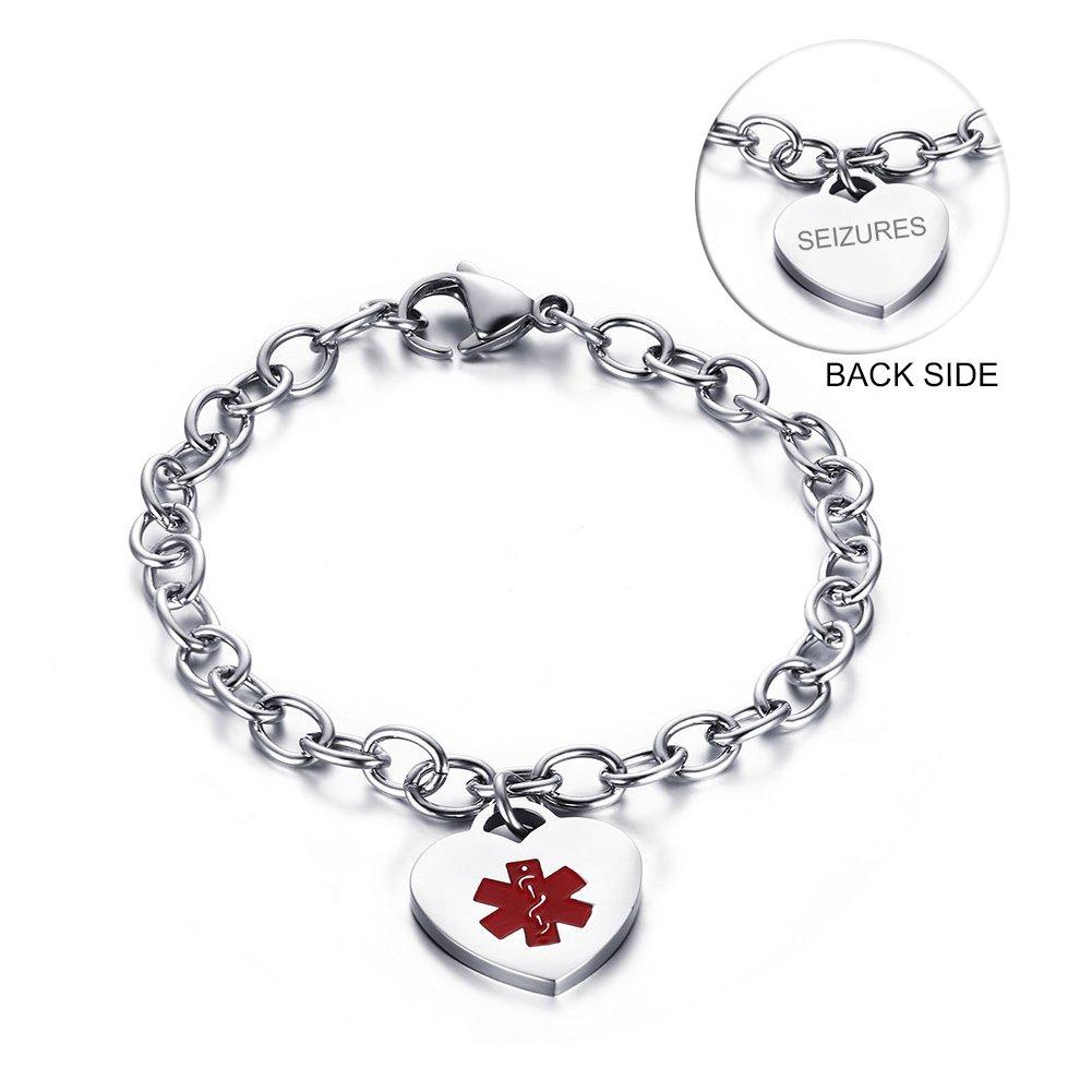 VNOX Stainless Steel Medical Alert ID Heart Charm SEIZURES Identification Bracelet for Women,7.5''