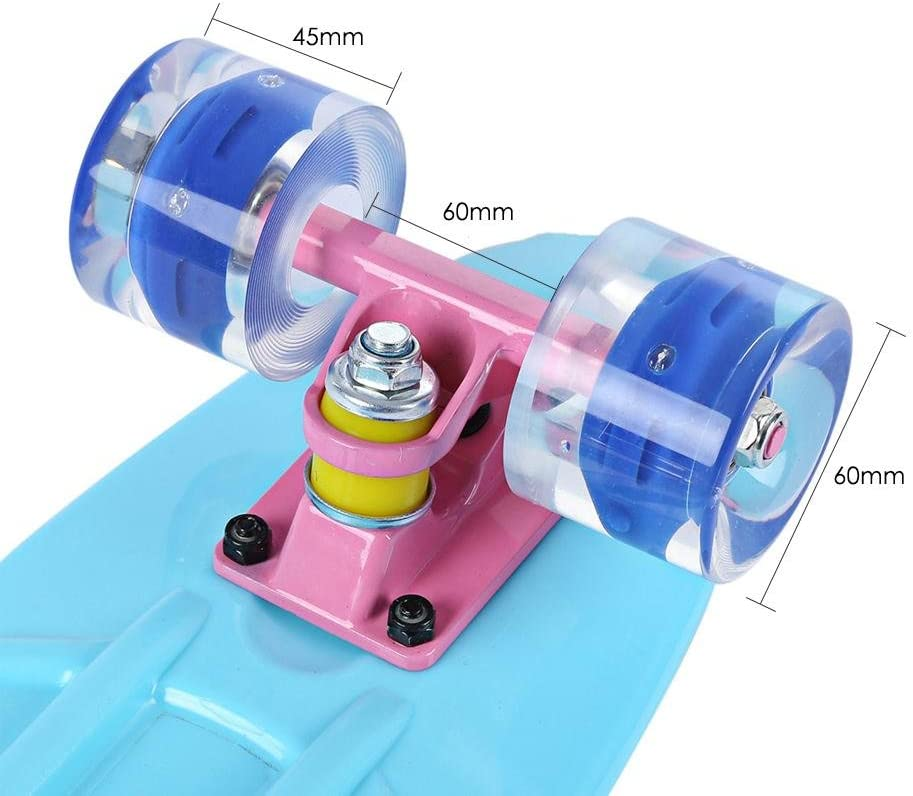 22 Inches Mini Cruiser Banana Style Longboard Pastel Color Board with LED