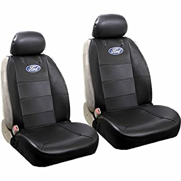 PAIR Ford Blue Oval Logo Car Truck SUV Sideless Armrest Side Airbag Compatible Polyvinyl Front Low Back Bucket Seat Covers