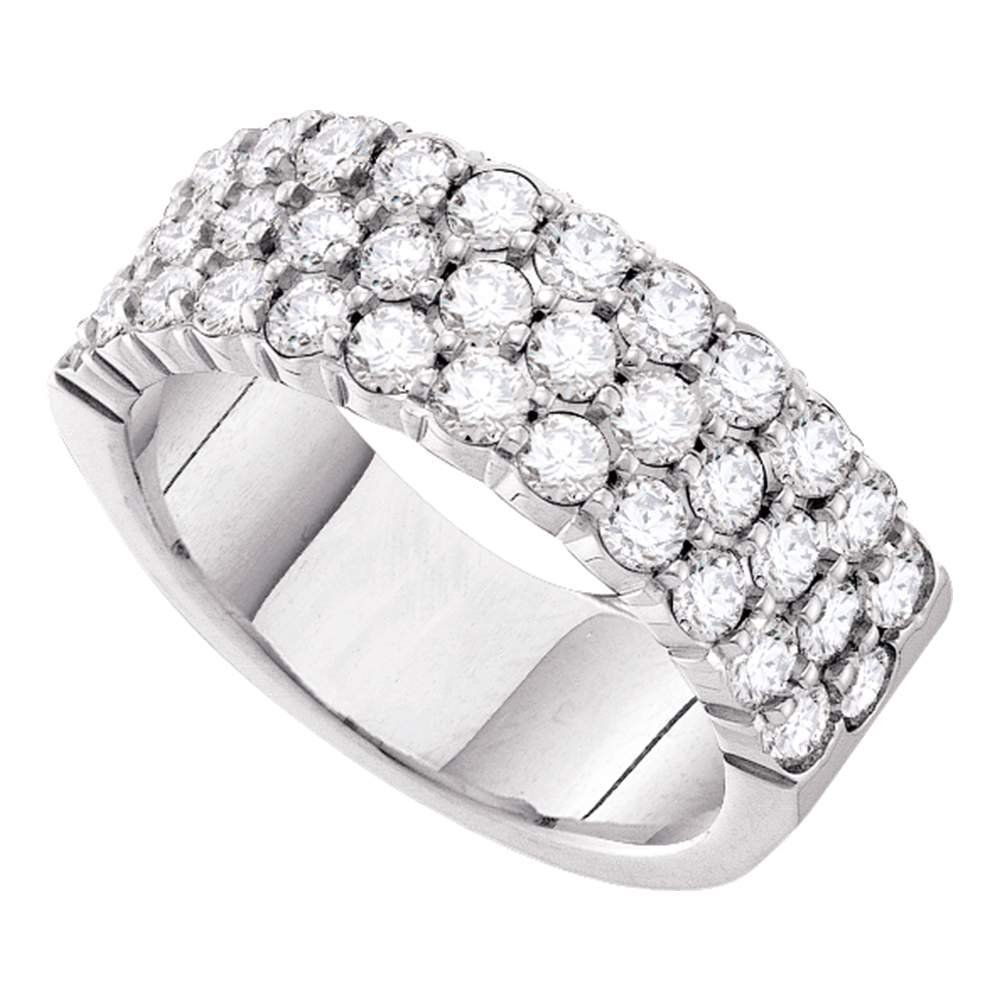 14k White Gold Three Row Diamond Wedding Band Anniversary Ring Wide Round Cluster Style 1.00 ctw Size 5