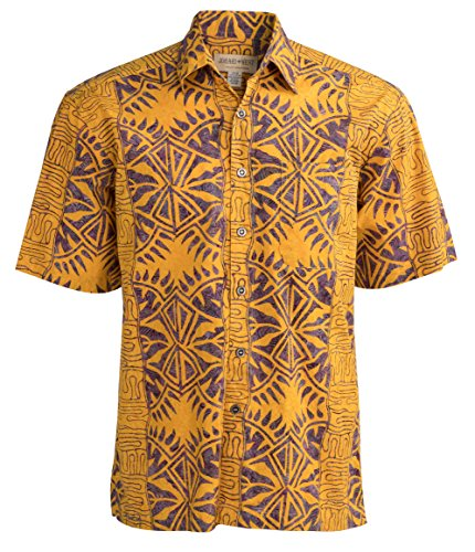 Johari West Geometric Forest Tropical Hawaiian Batik Shirt by (X-Large, Yellow)