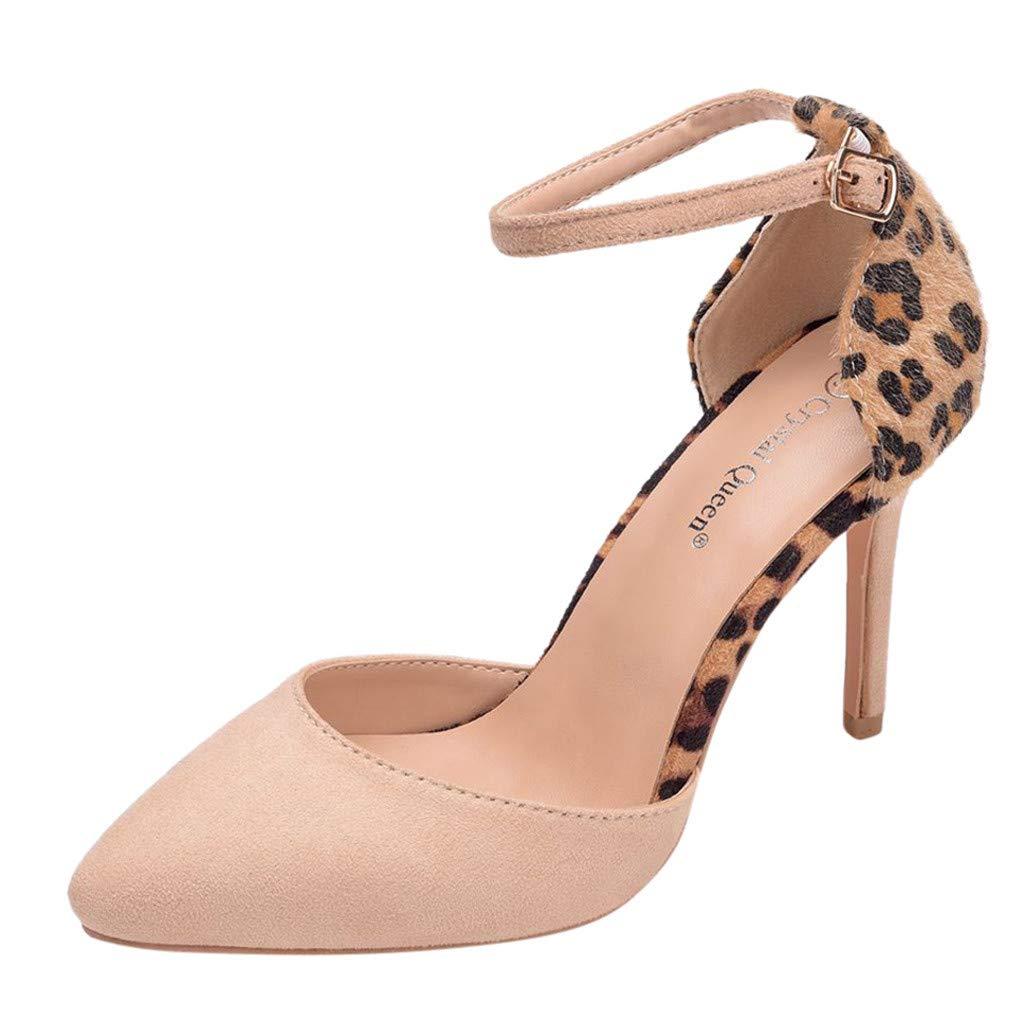 b4047aad17ea Copercn Women's Ladies Plain Color Faux Suede Leopard Grain Mohair Close Toe  Single Ankle Buckle Strap High Stiletto Heel Sandals Summer Fashion Fresh  Joker ...