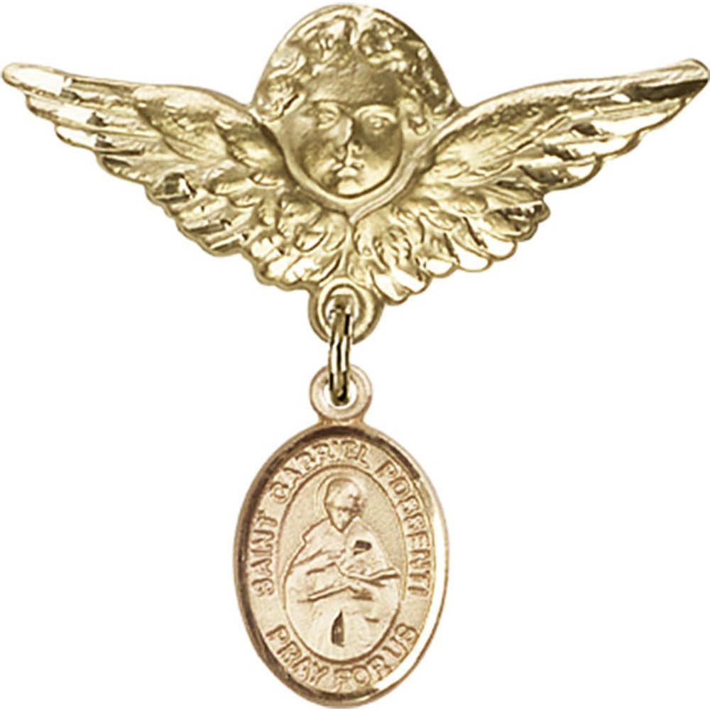 Gold Filled Baby Badge with St. Gabriel Possenti Charm and Angel w/Wings Badge Pin 1 1/8 X 1 1/8 inches