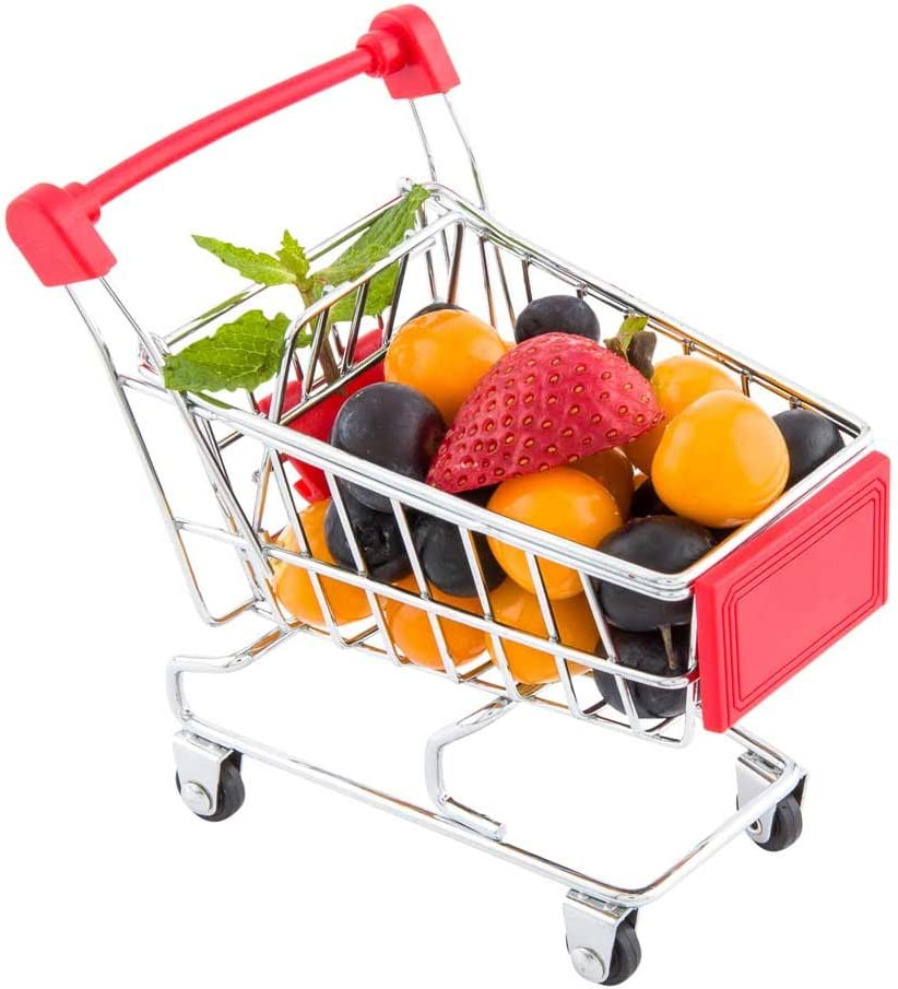 5.5 x 5.4 Inch Mini Shopping Cart, 1 Rectangle Tiny Shopping Cart - Desk Organizer, Accessory, and Decoration, Toy Holder For Kids, Red Stainless Steel Mini Grocery Cart, Serve Snacks or Appetizers
