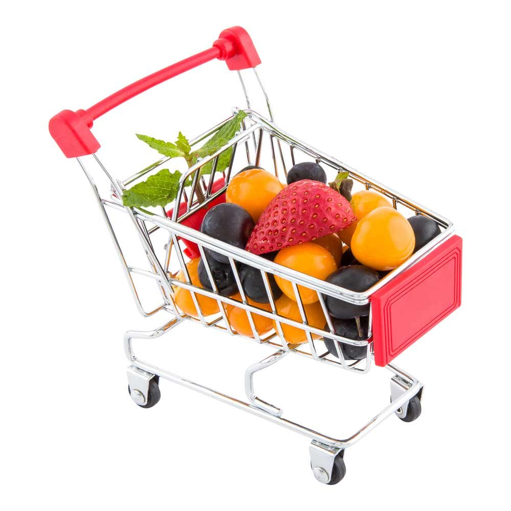 Mini Shopping Cart, Novelty Shopping Cart - 4.9 Inches - Silver and Red - Fun Decoration, Serve Snacks or Appetizers - 1ct Box - Restaurantware