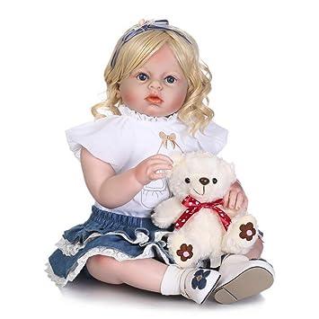 2cc080cceb328 kingko® 70CM Poupée Bébé Reborn en Silicone Bébé Poupée Yeux Ouverts avec  des Vêtements Cheveux