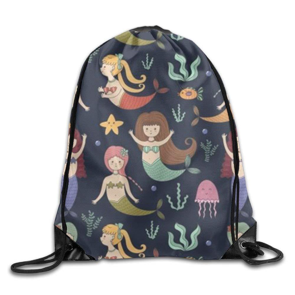 Mermaid Girls 3D Print Drawstring Backpack Rucksack Shoulder Bags Gym Bag Yilier