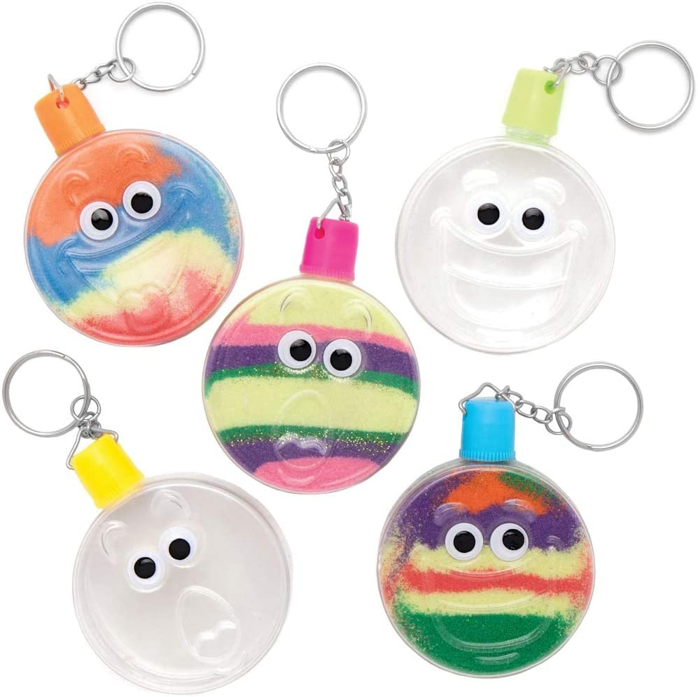 Pack of 5 Baker Ross AT944 Wiggle Eye Sand Art Keyrings for Kids Arts and Crafts Projects Assorted