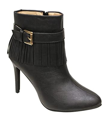 Chase & Chloe Carina-3 Women's point toe hippie style fringe ankle strap high heel booties