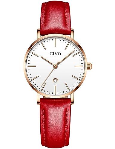 eb9e7cdb55e2 CIVO Relojes para Mujer Reloj Damas Señoras Lujo Impermeable Fino Reloj de  Cuero Minimalista Moda Calendario
