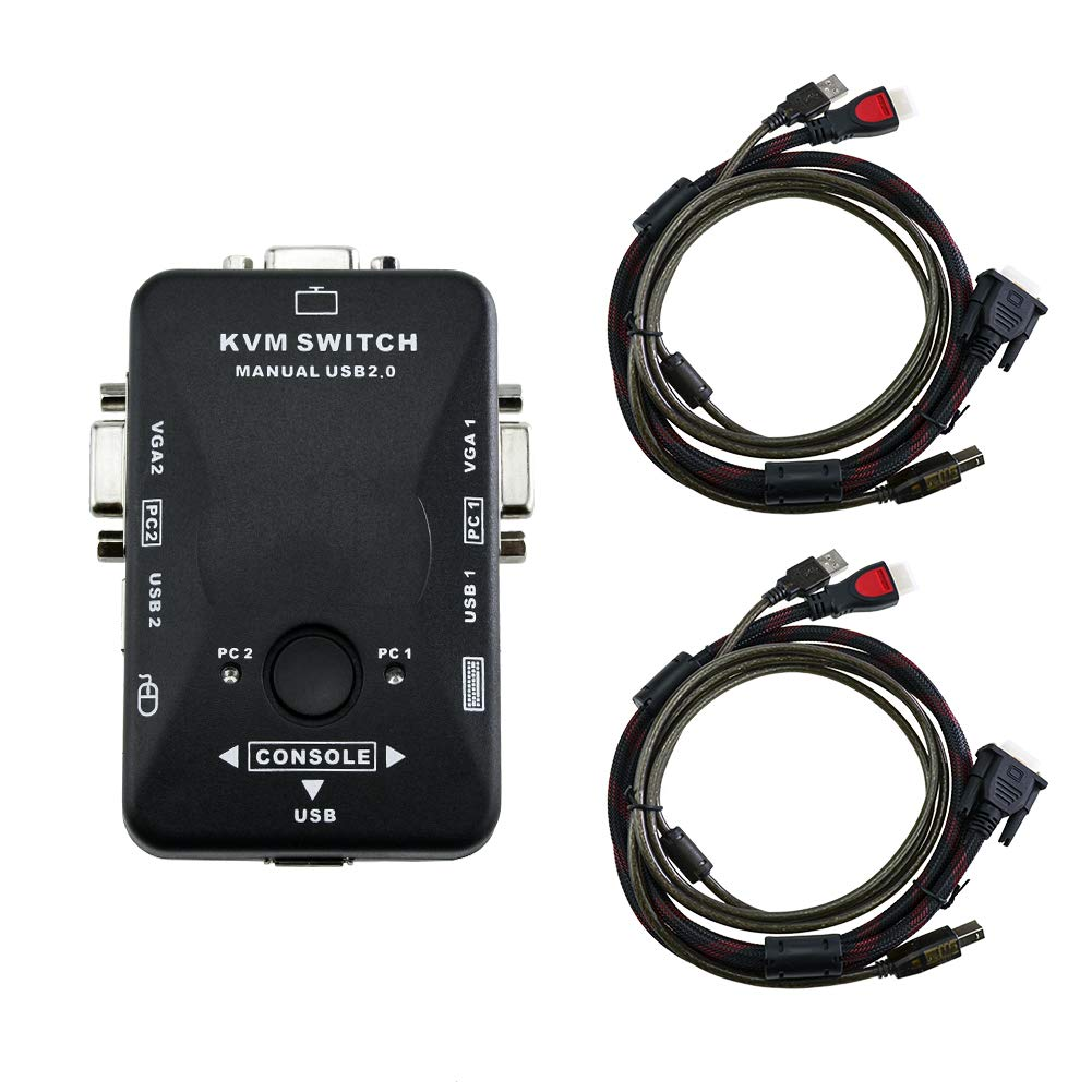 KVM Switch 2 Ports USB KVM VGA Switch Box Adapter, 2 VGA USB Cables for PC Monitor/Computer/Keyboard/Mouse Monitor, Plug and Play