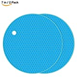 HsuiBhs Silicone Pot Holder 2 Pack, Circular Cup Insulation Mat, Flexible And durable, Heat Resistant HB-GJD/Round/Blue/2 Pcs