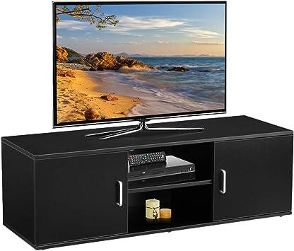 Langria Meuble Tv Avec 2 Portes Etagere Basse Ouverte A 2 Niveaux Grande Surface Plane Style Contemporaine Banc Tele Pour Salon Salle A Manger