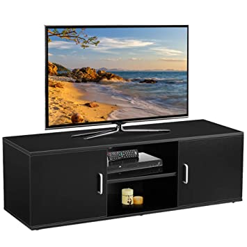 Langria Tv Stand With 2 Doors 2 Tier Open Shelf And Amazon Co Uk