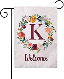 ULOVE LOVE YOURSELF Letter K Garden Flag with Flowers Wreath Double Sided Print Welcome Garden Flags Outdoor House Yard Flags 12.5 x 18 Inch
