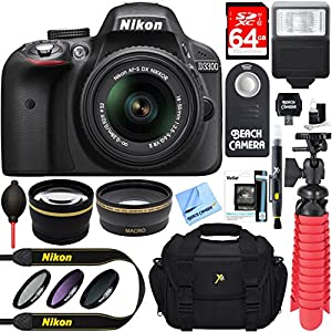 Nikon D3300 24.2 MP DSLR Camera + AF-S DX 18-55mm VR II Lens Kit + Accessory Bundle 64GB SDXC Memory + SLR Photo Bag + Wide Angle Lens + 2x Telephoto Lens + Flash + Remote + Tripod + Filters