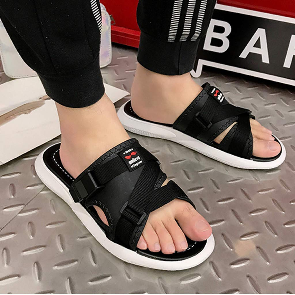AOJIAN Shoes Women's Sandals Fashion Buckle Beach Flip Flop Slide Slipper Clog Mule Black by AOJIAN Shoes (Image #3)