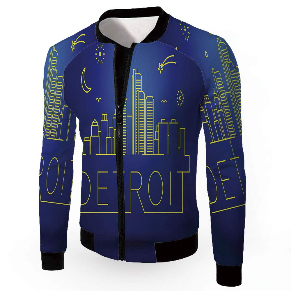 Multi10 XLarge iPrint Lightweight Jackets,Detroit Decor,Fashion Lightweight Hoodie Zipup Letter Windb