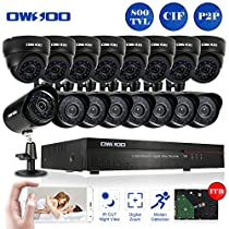 OWSOO 16CH CIF 1TB Hard Drive CCTV DVR Security System with 8x 800TVL Indoor Dome Camera & 8x 800TVL Outdoor Weatherproof Bullet Camera, Support IR-CUT Filter Infrared Night Vision Plug and Play