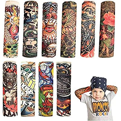 Temporary Tattoo Sleeve for Kids - 10PCS Arts Fake Slip on Arm Sunscreen Sleeves,UV Sun Protection Cooling Arm Sleeves for Kid Child Baby - Gtlzlz: Health & Personal Care