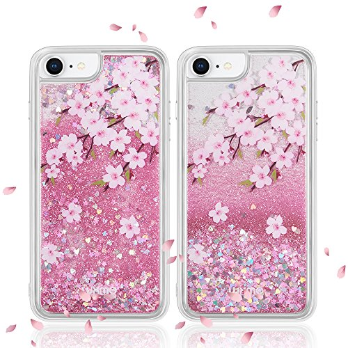 LUXMO Quicksand Case for iPhone 8 7 6S 6 with Glitter Star Durable Waterfall Fusion Liquid Sparkling Bumper Protection Cover Case for iPhone 8 7 6 6s(Pink)