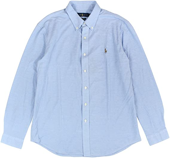 Polo Ralph Lauren Mens Textured Casual Button-Down Shirt Blue S at ... b46652b868a0