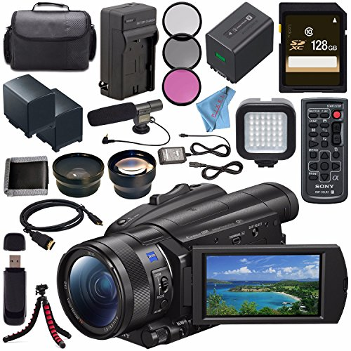 Sony FDR-AX700 4K Camcorder FDR-AX700/B + NP-FV70 Replacement Lithium Ion Battery + External Rapid Charger + 128GB SDXC Card + 62mm 3 Piece Filter Kit + LED Light + Condenser Mic Bundle by Sony