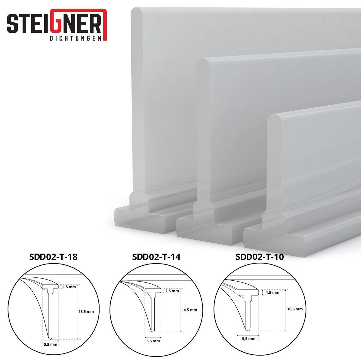 STEIGNER Joint de douche 140cm SDD02–T-10 transparent – joint en silicone pour la protection contre les fuites d'eau