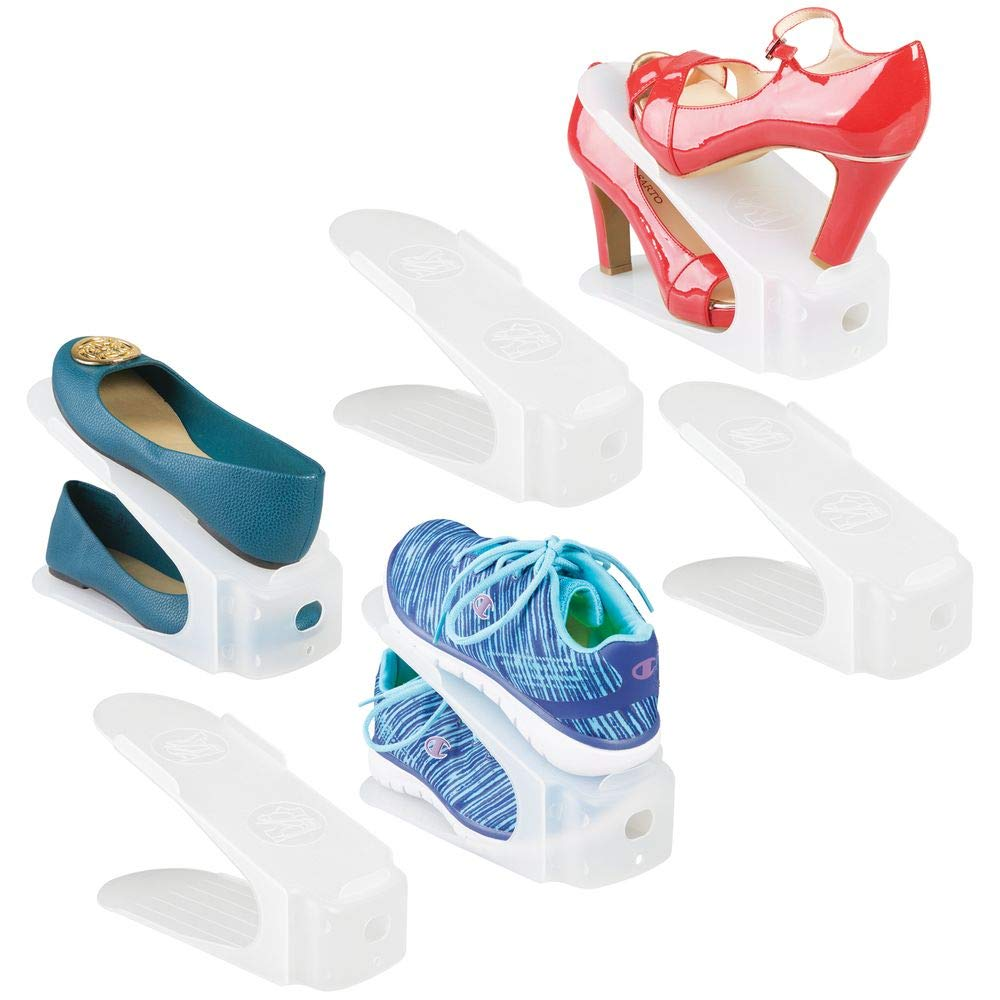 Heels Clear Frost 6 Pack Flats Closet Space-Saver MetroDecor mDesign Compact Plastic Single Shoe Slot Stacker and Organizer Rack Holds Sandals Sneakers Wedges