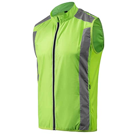 290576a8032e0 voofly Mens Cycling Vest Reflective Hi-Viz Safety Sleeveless Running  Windproof Bicycle Jacket Medium Hi