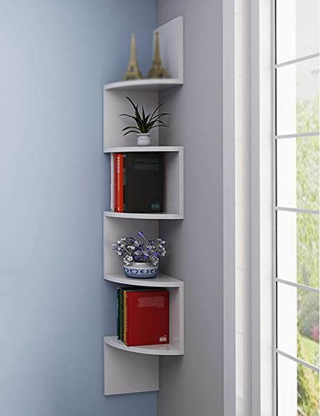 Shelf Units HWF Wall Corner Frame Bookshelf Fan Shaped Flower Rack