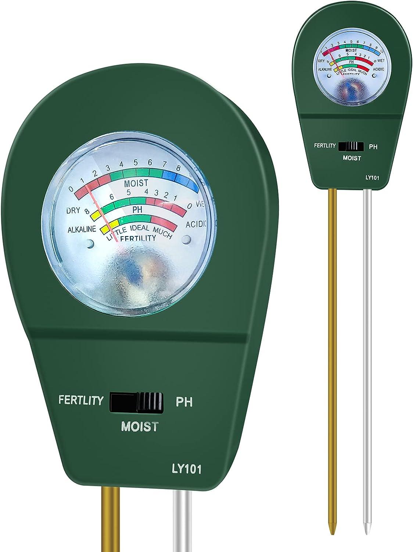 KVISTER Soil Moisture Meter for Plants, 3-in-1 Soil pH Meter Plant Water Meter, Soil Tester for Plant Care, Soil Test Kit Gardening Tool Great for Garden Lawn Farm Indoor Outdoor(Green)