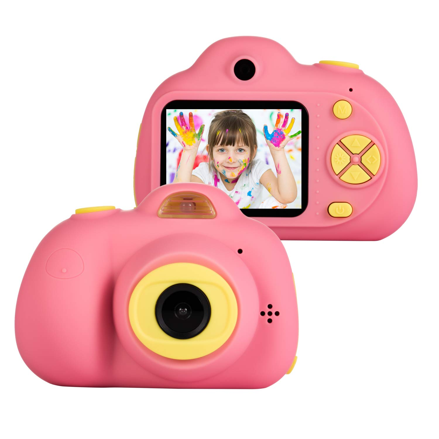 omzer Gift Kids Camera Toys for Girls, Cute Children Cameras Mini Camcorder for 3-8 Years Old Girl with 8MP HD Video Lens Great for Shooting, Deep Pink(16GB Memory Card Included) by omzer (Image #1)