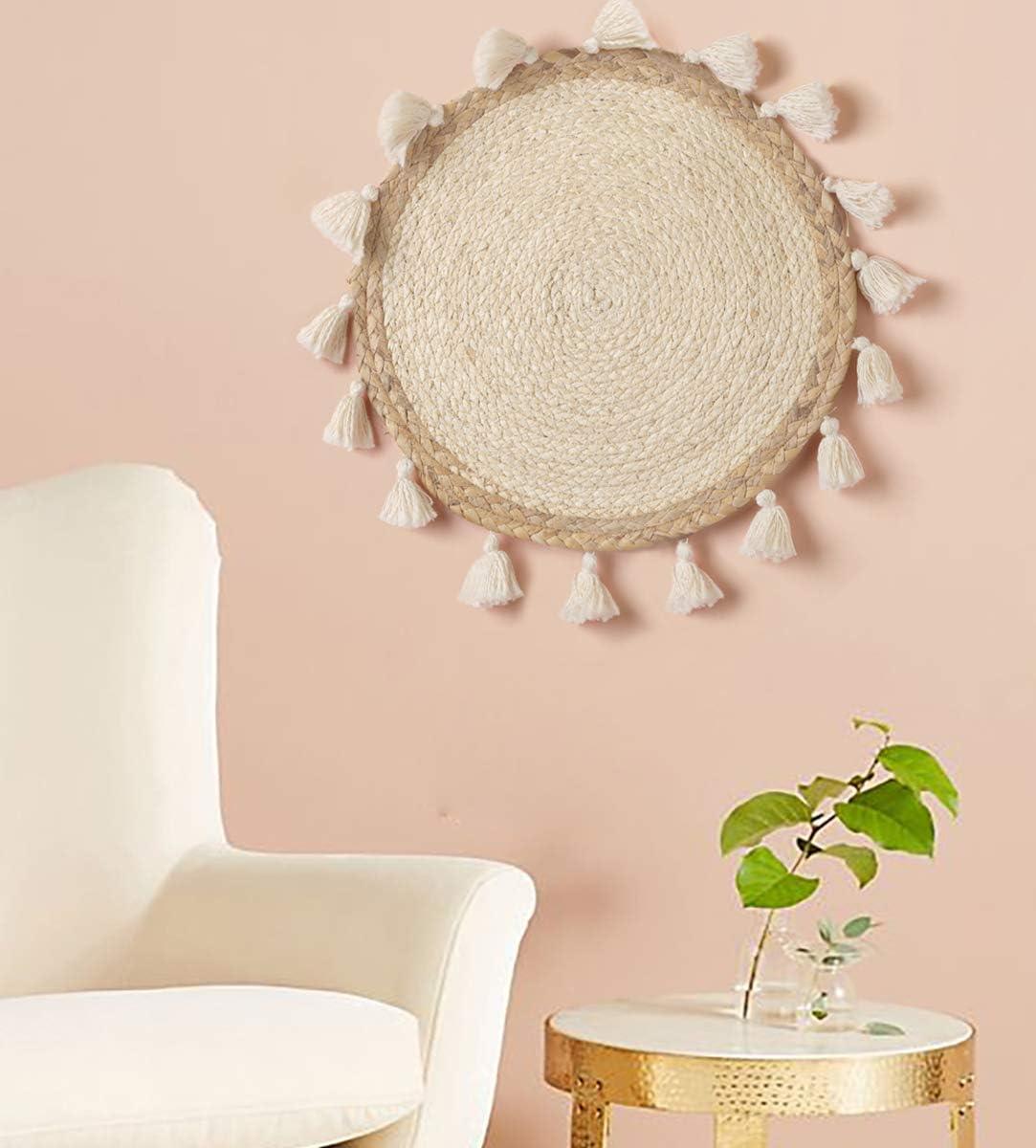 """Woven Wall Baskets Wall Hanging Tassel Macrame Boho Wall Art Home Décor,12"""" Diameter"""