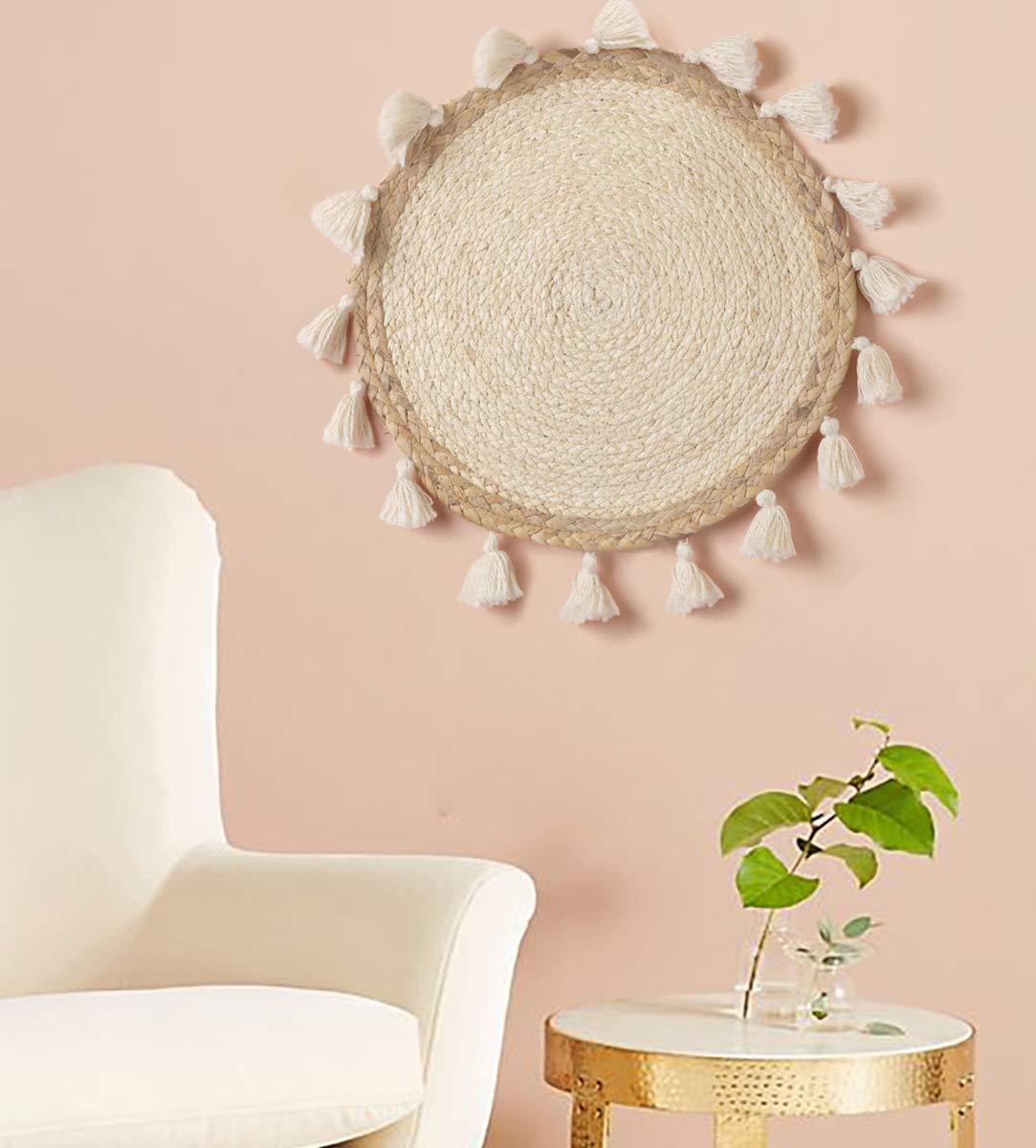 Flber Woven Wall Baskets Wall Hanging Tassel Macrame Boho Wall Art Home Décor,14'' Diameter