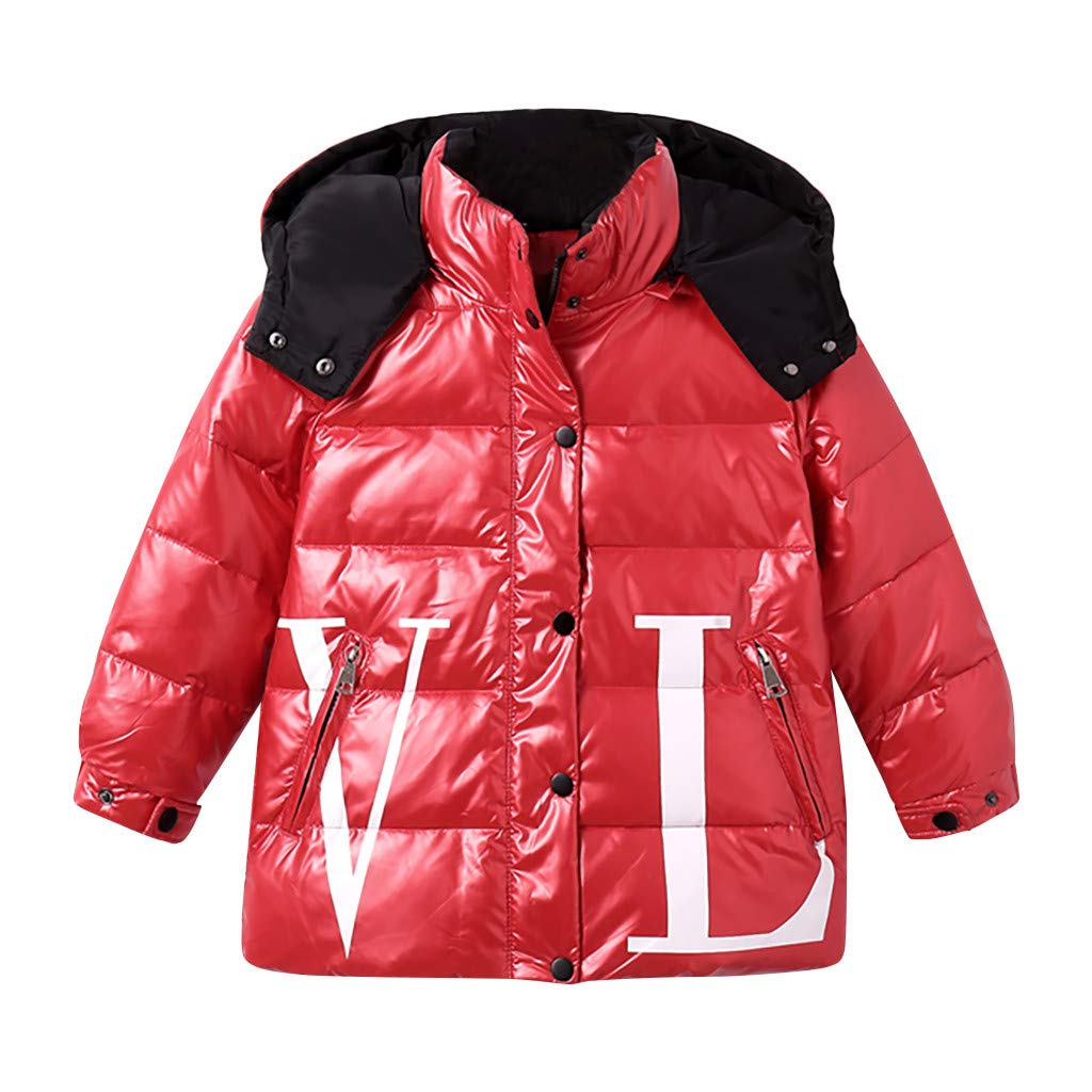 Baby Girl Boy Winter Parka Down Coat Puffer Jacket Padded Overcoat with Fur Hood Red by Yuege Baby Clothes