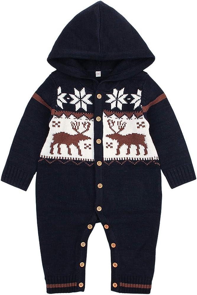 La vogue Bodies de Punto con Capucha Bebé Jersey de Una Pieza Peleles Navideño Azul Oscuro Talla 100/Busto 60cm: Amazon.es: Ropa y accesorios