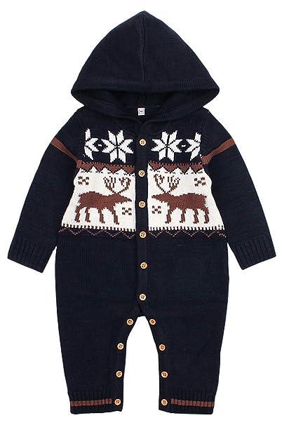 La vogue Bodies de Punto con Capucha Bebé Jersey de Una Pieza Peleles Navideño: Amazon.es: Ropa y accesorios