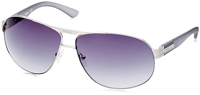 GUESS Gf015506B-65, Gafas de Sol para Hombre, Plateado, 65 ...