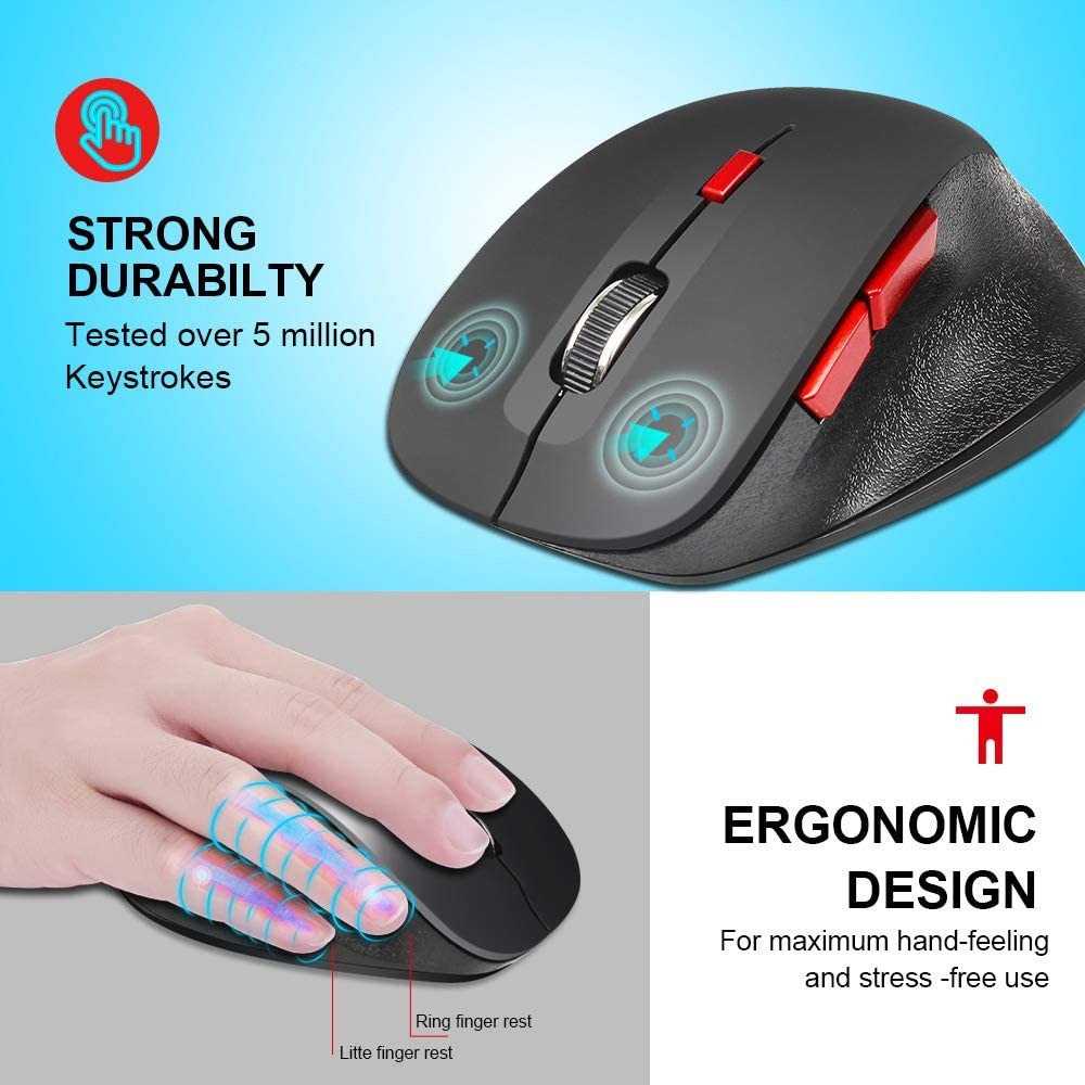 Compact Wireless Mouse with 10 Month Battery Life Works with Any Bluetooth Enabled Computer New Wireless 2.4G Mouse Laptop or Windows Black