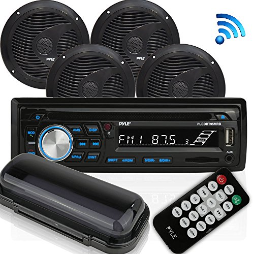 "Wireless Bluetooth Marine Audio Stereo - Kit w/Single DIN Universal Size Radio Receiver, Hands-Free Calling, 6.5"" Waterproof Speakers, CD Player, MP3/USB/SD Readers & AM/FM Radio - Pyle PLCDBT95MRB"