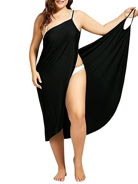 841ac276626 Womens Plus Size Strap Sling Cover Ups Beach Swimsuit Backless Wrap Long  Dress Black S