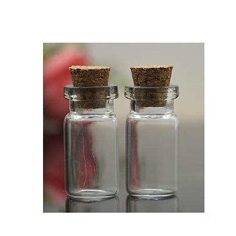 Youmei® 1pcs Mini Botellas de Vidrio Transparente con ...