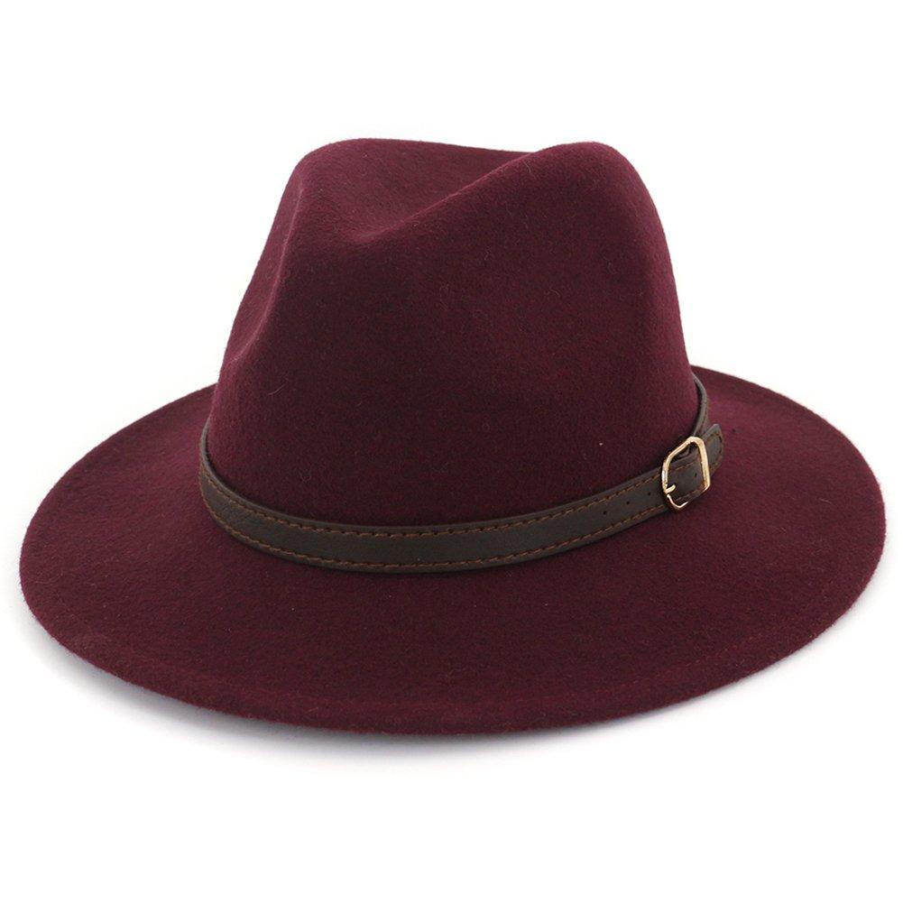 Lisianthus Women's 100% Wool Fedora Panama Hat Wide Brim with Belt BSM0115-001-1